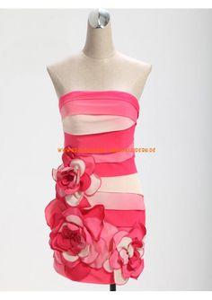 Trägerlos Zwei Farbig Blumen Designer Populär Günstige Kurze Abendkleider