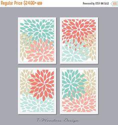 ON SALE Modern Abstract Flower Bursts Set 4 5x7 by 7WondersDesign