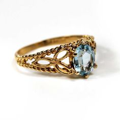 Vintage Oval Cut Aquamarine Austrian Crystal 18k Gold Electroplated Filigree Cocktail Ring Made in USA New Old Stock #R300