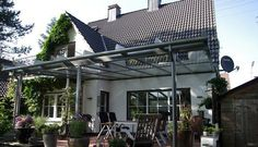 TerraSmart Terrassenüberdachung Elegant-Line - Terrassendach in graualuminium mit 3 Stützen