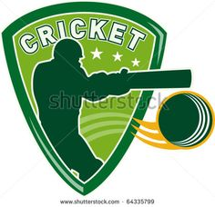 vector illustration of a cricket sports player batsman silhouette batting set inside shield with ball flying isolated on white - stock vector #cricket #retro #illustration
