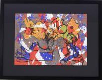 """Lote 4526 - José Guimarães (n.1939) - Serigrafia sobre papel, assinada, datada de 16/7/1998, motivo """"Figuras e Caracteres Chineses"""", com 47,5x66 cm (moldura com 74x94 cm). Serigrafia deste autor foi vendida por € 1.092 na Oportunity Leiloes. Nota: Figura cimeira da pintura neo-realista está representado nos mais importantes Museus Nacionais e Internacionais, como por exemplo, o Centro de Arte Rockfeller em Nova Iorque, Museu Wurth- Alemanha e Colecção do Estado Francês - Fundo Nacional de…"""