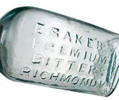 "E BAKER'S PREMIUM BITTERS RICHMOND VA. B-10. 6 ¾"". Applied top. Smooth base."