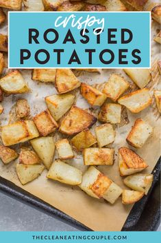 This Sheet Pan Crispy Roasted Potatoes Recipe is an easy, delicious side dish made in the oven! Paleo, vegan   whole30 friendly, these oven roasted potatoes are perfectly cooked   yummy! You can keep them plain, add thyme/rosemary or parmesan, or just stick with salt and pepper. See the post for a video and step by step instructions on how to make crispy roasted potatoes every time! These are the best roasted potatoes! #paleo #whole30 #healthy #potatoes #vegan Healthy Vegetable Recipes, Healthy Gluten Free Recipes, Paleo Vegan, Whole30 Recipes, Paleo Menu, Vegetarian Recipes, Easy Clean Eating Recipes, Easy Whole 30 Recipes, Healthy Potatoes