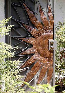 Copper Sunburst security door