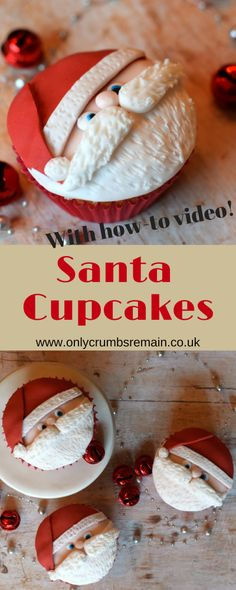 Either way these super festive cupcakes are a lot of fun easy to make and would be the perfect addition to the party food for the Christmas festivities. Theyd also be great offered as a small gift to friends colleagues and neighbours. Santa Cupcakes, Holiday Cupcakes, Fondant Cupcakes, Cupcake Cakes, Cupcake Toppers, Cupcake Emoji, Thanksgiving Cupcakes, Disney Cupcakes, Cheesecake Cupcakes