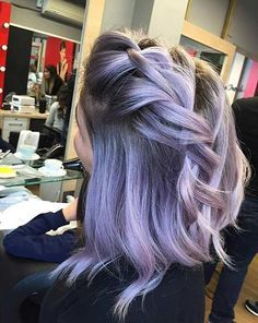 Lavender Hair with Dark Roots