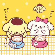 Pom Pom Purin shares cup of friendship and happiness with Macaroon! (((o(*゚▽゚*)o)))