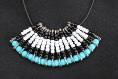 Turquoise and Black Fan Safety Pin Necklace by BeadItbyBM on Etsy