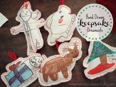 Hand Drawn Keepsake Ornaments {kids craft} | Skip To My Lou
