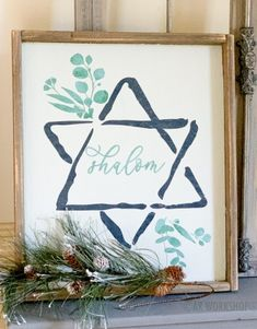 Hanukkah Crafts, Jewish Crafts, Hanukkah Decorations, Hannukah, Happy Hanukkah, Christmas Tree Farm, Merry Christmas To All, Christmas Signs, Arte Judaica