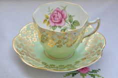 Clare bone china made in England tea cup and saucer/mint green with gold gilt flowers/ scalloped edge/ pink rose by VieuxCharmes on Etsy