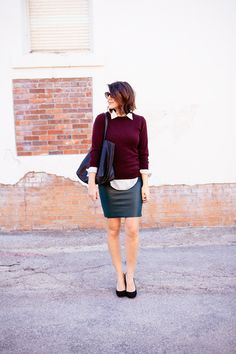 White Button Down, Burgundy Sweater, Black Pencil Skirt, Black Pumps, Long Necklace w/ Statement Pendant, Black Watch, Black Oversized Bag, Structured Casual