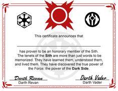 Sith Certificate Free Printable - Star Wars - The Dark Side Degree Star Wars Birthday, Star Wars Party, Printable Star Wars, Star Wars Sith, Jedi Knight, Movie Themes, Star Wars Humor, Dark Side, The Darkest