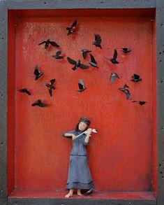 "⌼ Artistic Assemblages ⌼ Mixed Media & Collage Art - ""The Fiddler,"" julia hepburn, artist"