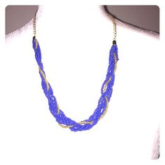 Cobalt And Gold Beaded Twist Necklace NWT! Fashion jewelry! Smoke Free Home. Free Gifts With All Purchases. No Trades. Remember 20% Fee.        Thanks for shopping with me Jewelry Necklaces