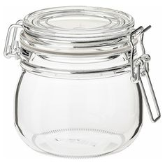 KORKEN Jar with lid, clear glass. The jar has an aroma-tight seal, which makes it perfect for preserving your favourite homemade jams and jellies. The aroma-tight seal helps food retain its flavour and aroma longer. Explore the full product details here! Food Storage Organization, Food Storage Containers, Storage Organizers, Plastic Containers, Kitchen Storage, Ikea Jars, 365 Jar, Glass Jars With Lids, Jam And Jelly