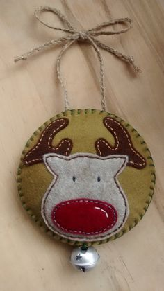 This felt Reindeer ornament would make an ideal festive wall, door or large tree hanging decoration.  Designed and handmade by me in soft felt,
