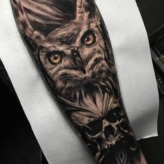 Owl Skull Dark Arm tattoo by Kris