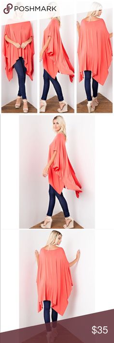 Coral Tunic Poncho Coral ultra-soft and flowing, loose fit poncho tunic. Can be worn as a tunic top or a dress. Asymmetrical hemline. Edgy and sophisticated yet comfy. Great as a beach cover up too. 95% Rayon 5% Spandex. Made in USA. ONE SIZE FITS SMALL-XXXL  NO TRADE   ❤️PRICE FIRM❤️ Tops Tunics