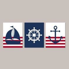 Bold stripes and lively prints put a fun spin on the nautical theme. Navy Nursery, Nautical Nursery Decor, Nautical Wall Decor, Nursery Prints, Nautical Theme, Nursery Wall Art, Nautical Interior, Nursery Design, Small Canvas