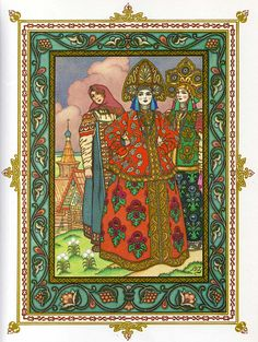 Vasilissa and her sisters - illustration by Ivan Bilibin Baba Yaga, Russian Folk, Russian Art, Russian Style, Don Mendo, Russian Painting, Fairytale Art, Inspiration Art, Art Graphique