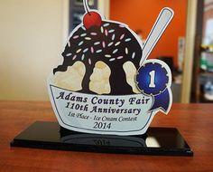 #restaurantsignage #foodsigns #signsforrestaurants #SignaramaColorado #Signs #colorado award for best ice cream - digitally printed and laser cut acrylic for the Adams County Fair