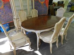 Drexel Heritage Dining Room Set:   French Provencial  6 Chairs, China  Cabinet #
