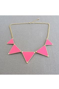 Necklace crafted in alloy, featuring pure color triangle pendant, all in fashion style design.$16