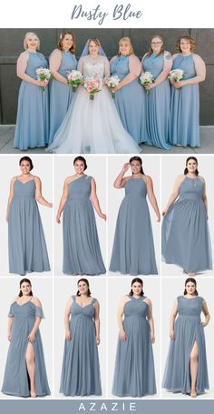 Dusty Rose Bridesmaid Dresses, Bridesmaid Dress Colors, Blue Bridesmaids, Bridal Dresses, Wedding Gowns, Dusty Blue Dress, Blue Dresses, The Dress, Marie