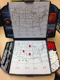 Longitude and latitude Battleship-- print a U.S. map and cut down to board size. Students call out coordinates to see if it is a hit or miss. Blog post has a downloadable map.
