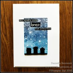 Christmas in July - Stampin' Up! Bokeh Dots, Hearts come home and Hometown Greetings edgelits. Ombré stamping with stamparatus - Mrs. Christmas Card Crafts, Christmas In July, Xmas Cards, Holiday, Scrapbooking, Stamping Up Cards, Winter Cards, Tampons, Paper Cards