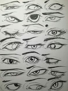 Different Manga/anime eyes Eye Drawing Tutorials, Drawing Techniques, Art Tutorials, Realistic Eye Drawing, Drawing Eyes, Drawing Expressions, Poses References, Anatomy Drawing, Art Reference Poses