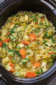 Chicken Noodle Soup {Slow Cooker} Toss everything into the slow cooker and sit back. This warm, comforting soup cooks itself! #chickennoodle #chickennoodlesoup #soup #slowcooker #crockpot | Littlespicejar.com