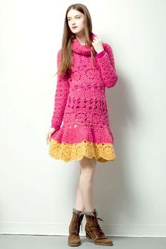 QUEEN DRESS $220.- crochet in pink & yellow by Espiritu Folk. Queen Dress, Pink Yellow, Knitwear, Folk, Summer Dresses, Crochet, Collection, Design, Fashion