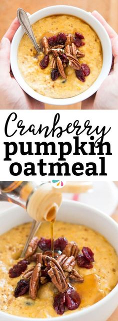 If you love feeding your family a hot & healthy breakfast on chilly mornings but feel like you lack the time for something homemade, this quick and easy cranberry pumpkin oatmeal is just what you're looking for! It's gluten free and made on the stovetop with rolled oats, dried cranberries (or substitute raisins), milk (pick your favorite to make it skinny or even vegan), maple syrup and pumpkin purée. This whips up instantly in under 10 minutes and tastes almost as good as Thanksgiving pie!