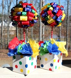 Single Ribbon Topiary in Red Blue Yellow Green Perfect for Mickey Circus or Primary Birthdays with matching pot.