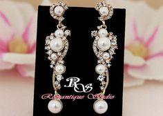 Gold pearl crystal earrings gold bidal by RomantiqueStudio on Etsy
