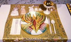 Judy Chicago: The Dinner Party – Detail Mary Wollstonecraft Placesetting White tile floor inscribed in gold with 999 women's names; triangular table with painted porcelain, sculpted porcelain plates, and needlework, each side feminist art-- vagina Judy Chicago, Chicago Art, Writing Art, Feminist Art, Collaborative Art, Art Programs, Art World, Art Education, Ceramic Art