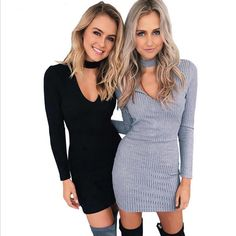 Sexy Solid Color Zip Halter V-Neck Slim Fit Package Hip Bodycon Knitwear Dress