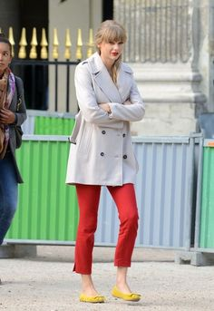 Taylor Swift's Bright Pants and Classic Coat