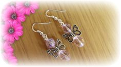Pink Glass Beads and a Tibetan Butterfly Charm Earrings with 925 Stamped Hooks