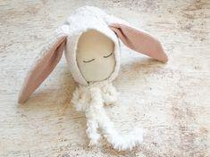 Newborn Photo Prop -  Ivory Bunny Newborn Bonnet - Ready to Ship by wrenandwillowdesigns on Etsy