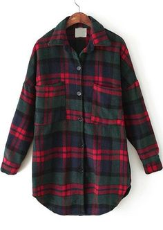 Red Green Plaid Lapel Pockets Loose Blouse -SheIn(Sheinside) Mobile Site