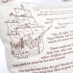 """Drift off to Neverland with this pillow cover featuring original artwork with text straight from J. M. Barrie's classic tale about Peter Pan, the boy who never grew up!   Our pillow covers are constructed from American-made 100% cotton twill. Insides are serged and there is a matching invisible zipper on the bottom. Pillow insert sold separately and can be found in craft or department stores. Use an 18"""" x 18"""" pillow for optimal fullness."""