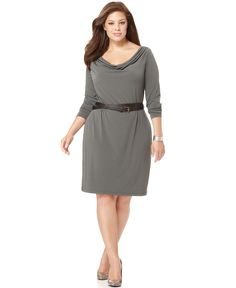 Calvin Klein Plus Size Dress, Long Sleeve Belted Cowlneck Jersey - Calvin Klein - Plus Sizes - Macy's