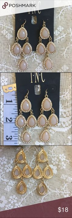 INC EARRINGS Beautiful soft pink and gold with cz's by INC INC International Concepts Jewelry Earrings