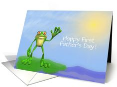 First Time Father's Day-Frog on Lily Pad-Custom card (933097)