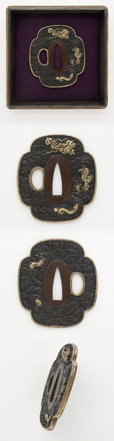Edo Mokko shape Shakudo Tsuba, dragon and clouds(wave) are engraved with gold color.