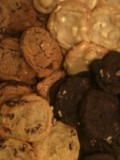 White Chocolate Macadamia, Dutch Chocolate Chunk & Walnuts, Peanut Butter Chocolate Chunk, Cranberry Walnut